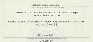 Flourinated greenhouse gas treatment certificate